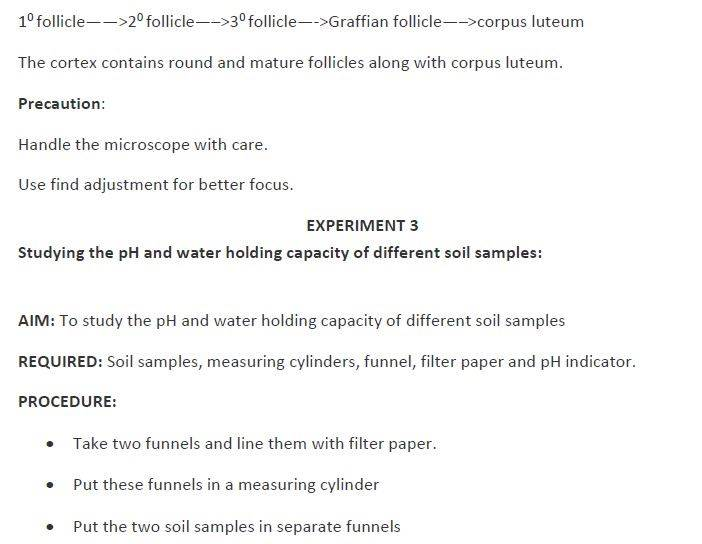 Biology Practical for Class 12 Practical Examination and