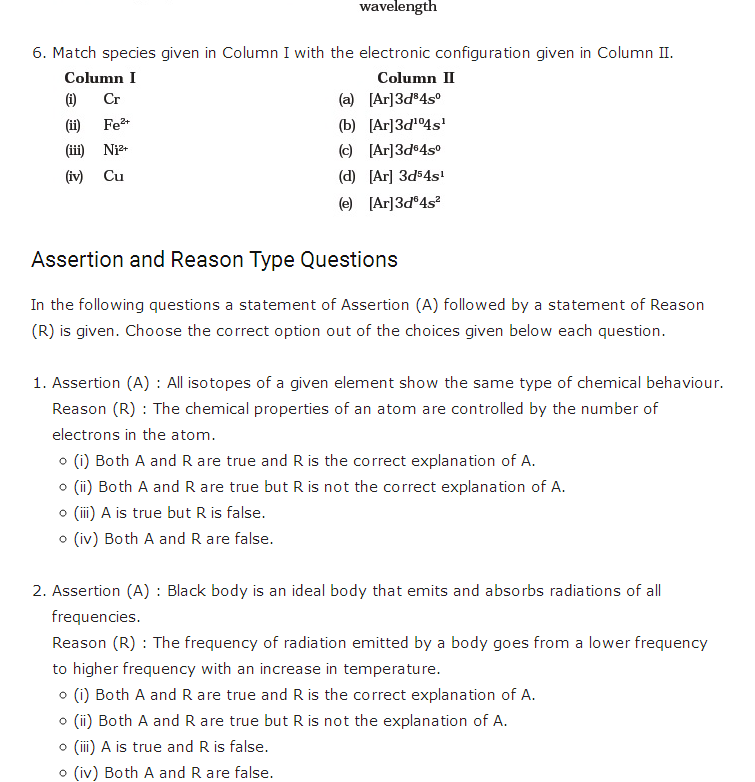 Structure of atom class 11 questions and answers | Chemistry