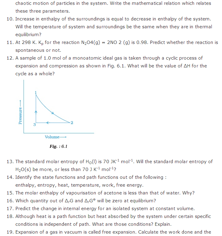 important questions class 11 chemistry chapter 6 chemical thermodynamics 2