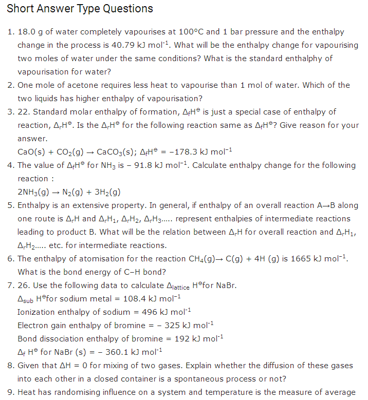 important questions class 11 chemistry chapter 6 chemical thermodynamics 1