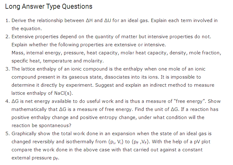 important questions class 11 chemistry chapter 6 chemical thermodynamics 6
