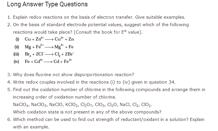 important questions class 11 chemistry chapter 8 redox reaction 3