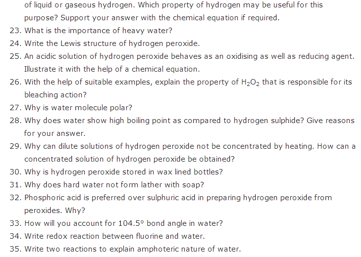 important questions class 11 chemistry chapter 9 hydrogen 3
