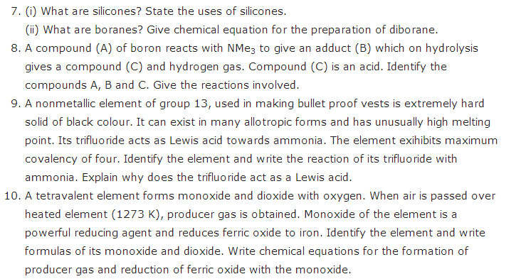 important questions for class 11 Chemistry Some p Block Elements Chapter 11 4