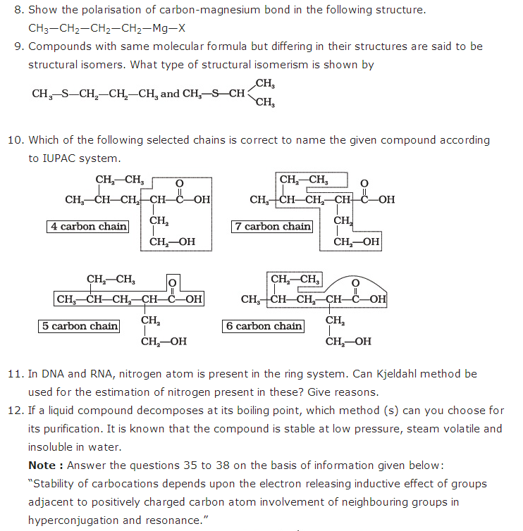 important questions class 11 chemistry chapter 12 organic chemistry basic principles technique 2