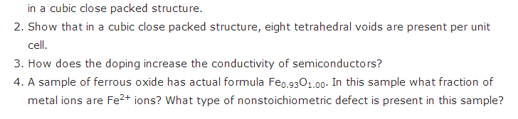 Solid state chemistry class 12 questions Chapter 1 | Chemistry