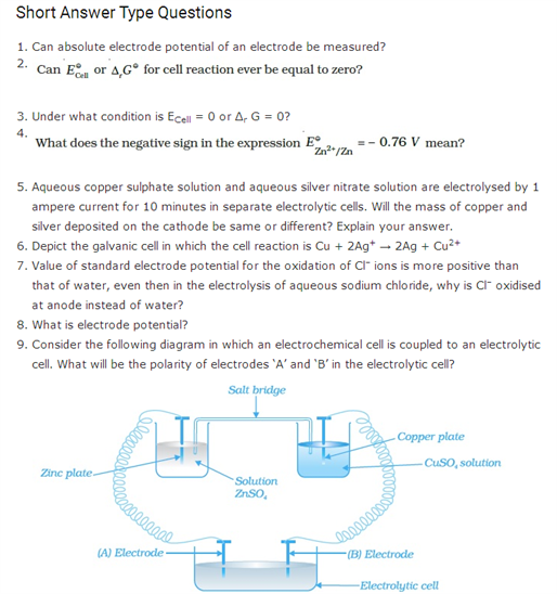 important questions class 12 chemistry chapter 3 electrochemistry 1