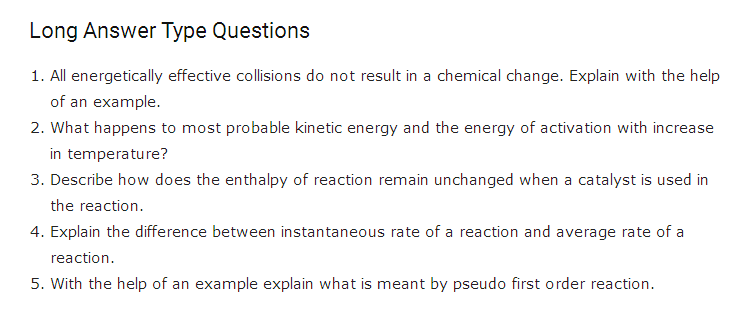 Chemical Kinetics Important Questions Class 12 Chemistry