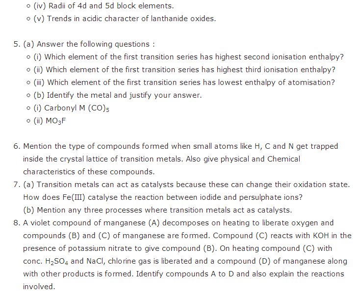 important questions class 12 chemistry chapter 8 d f block elements 4
