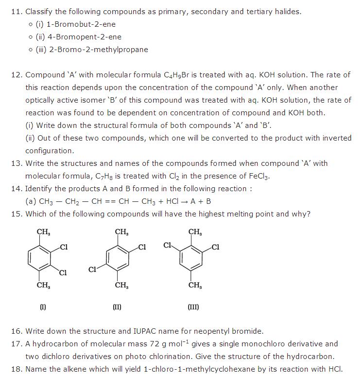 Haloalkanes and haloarenes class 12 important questions