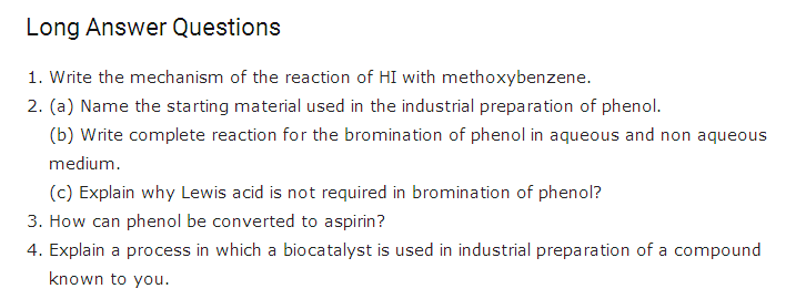 Important questions Class 12 Chemistry Chapter 11 Alcohols, Phenols & Ethers 4