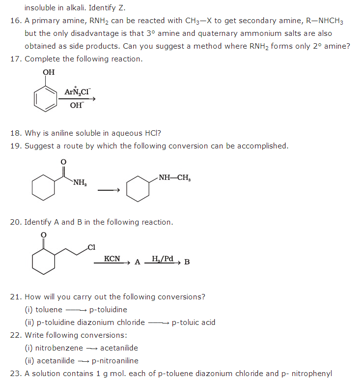 important questions class 12 chemistry chapter 13 organic compounds containing nitrogen 2