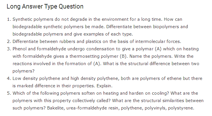 important questions class 12 chemistry chapter 15 polymers 3