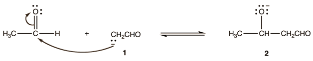 Enolate ion 1 adds to the unreacted aldehyde
