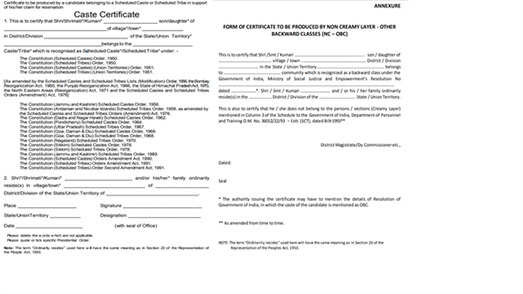 Caste Certificate Format