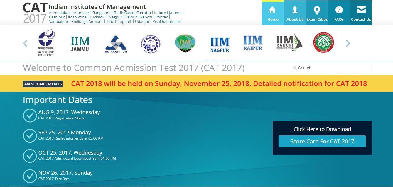 CAT 2018 Exam Date