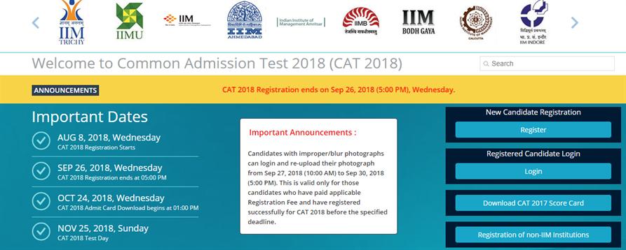 CAT 2018 Registration Details