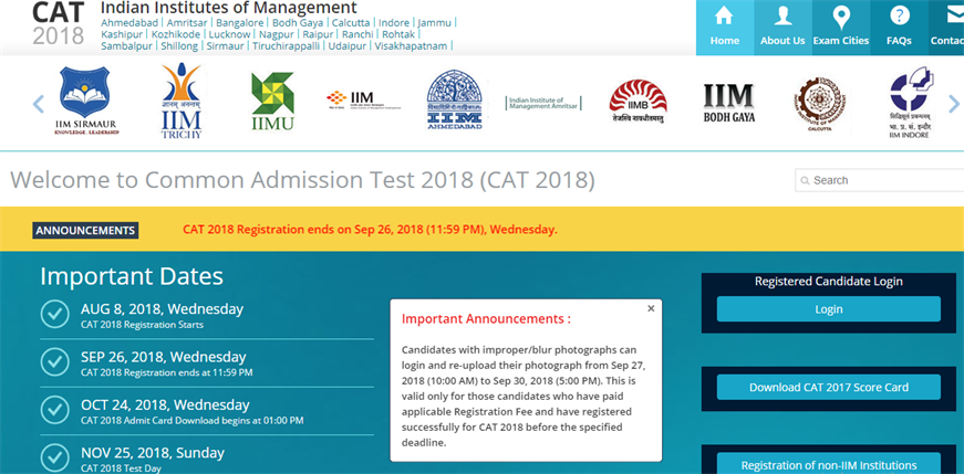 CAT Admit Card 2018 -1