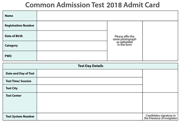 Sample CAT 2018 Admit Card