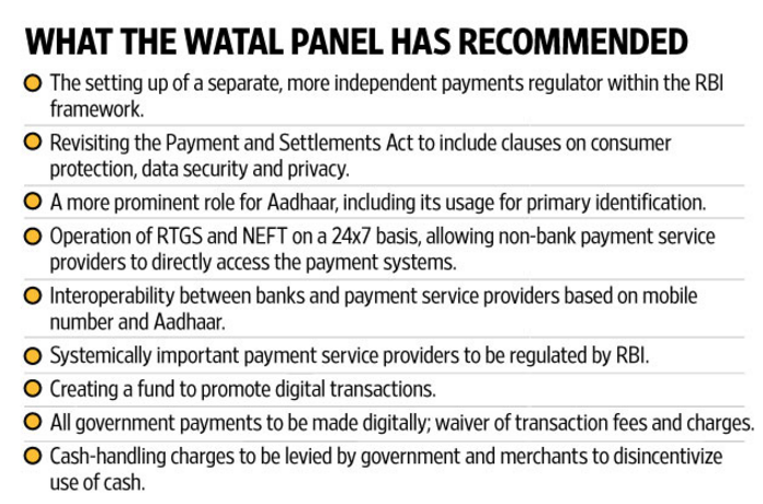 Recommendation of Watal Panel - Cashless Economy