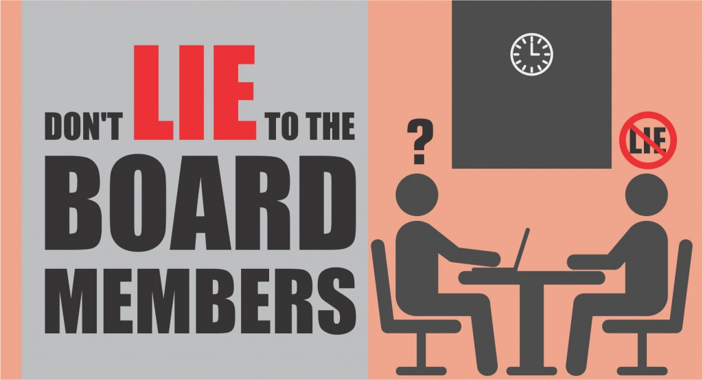 Don't lie to the Board Members