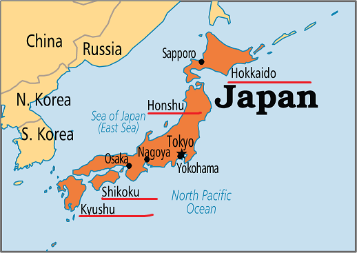 Revising World Geography through maps - Japan Map