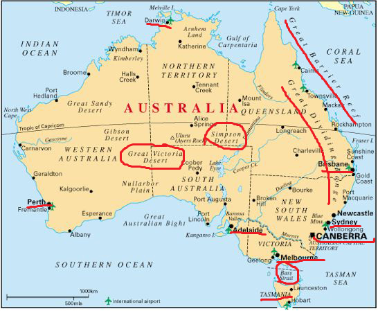 Revising World Geography through Maps - Australia Map Question