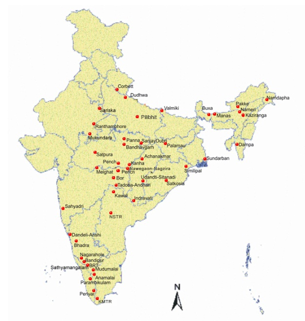 Tiger Reserves in India- Geographical Location