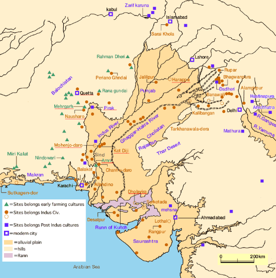 Indus valley civilization map - 1056 sites