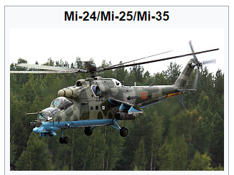 Russian Mi-25 and Mi-35 attack helicopters