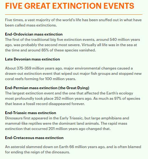 Five great extinction events