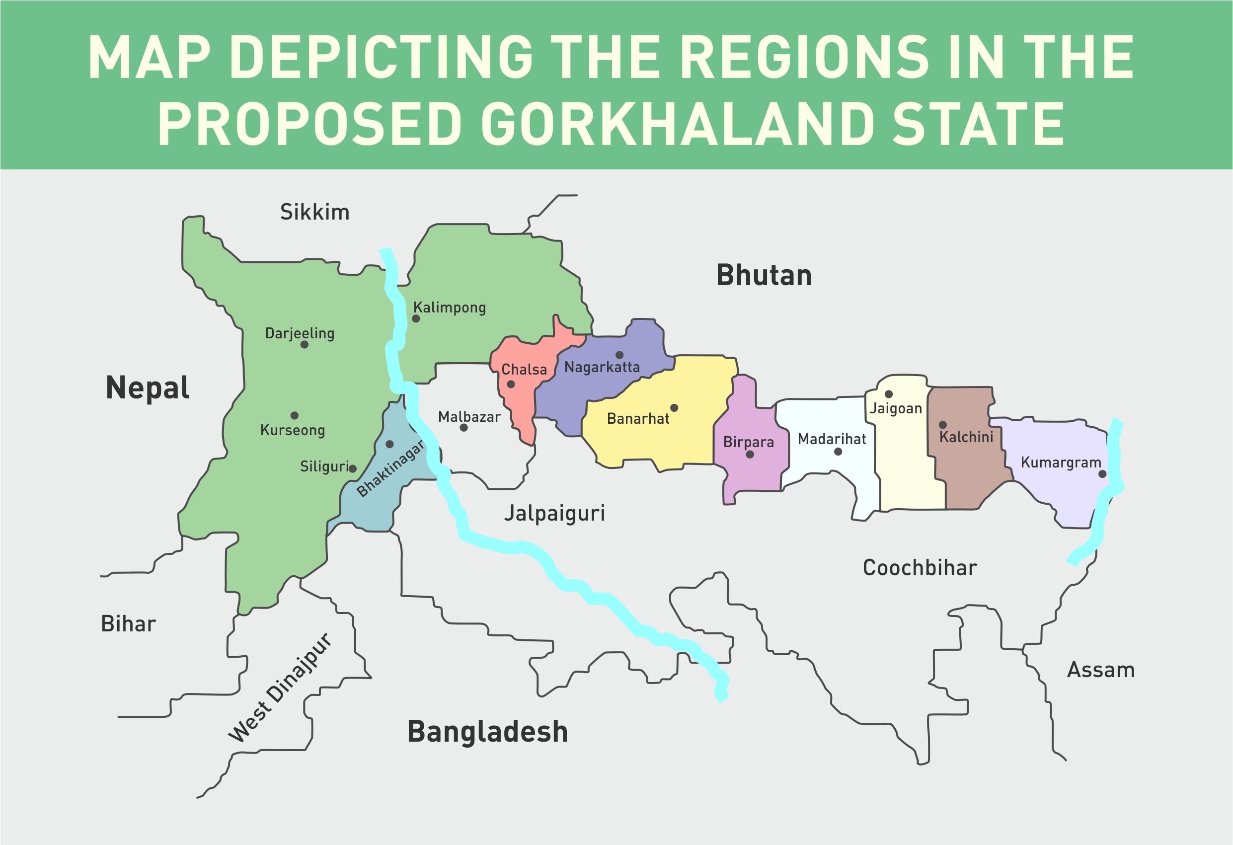 Regions in the proposed Gorkhaland State