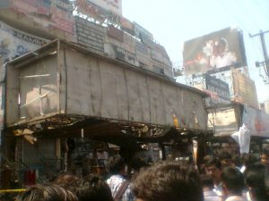 The damaged bus stand in Dilsukhnagar