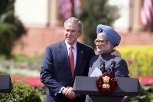 Manmohan Singh and George Bush