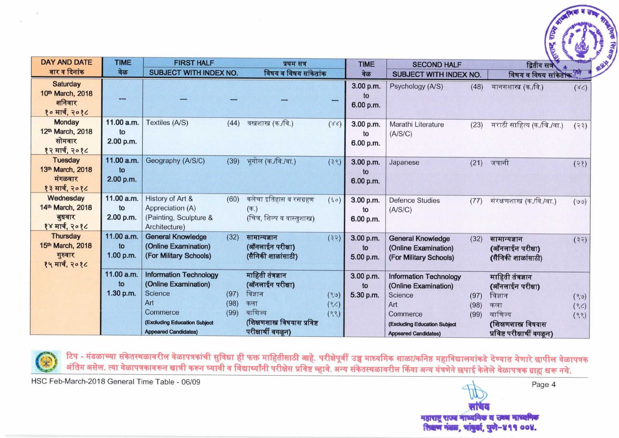 hsc timetable class 12 exam