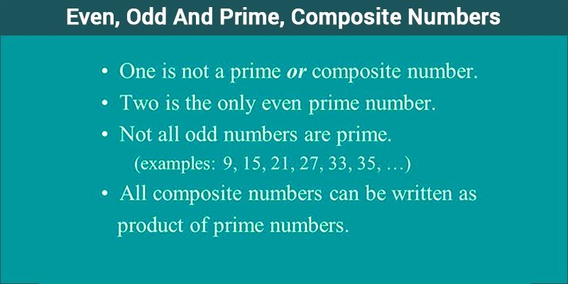 prime, composite and even, odd numbers- example