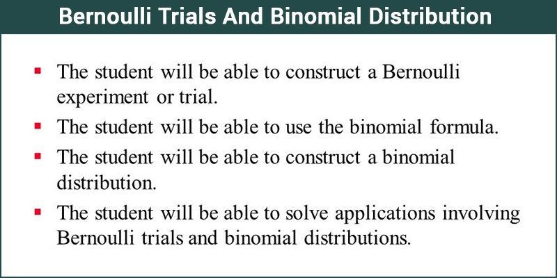 Bernoulli Trial And Binomial Distribution Of Random Variables