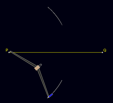Construction of Perpendicular Bisector : Place the compass pointer at point P and draw arcs above and below the line.