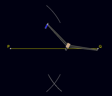 Construction of Perpendicular Bisector: Keeping the same length in the compass, place the compass pointer at point Q and draw two arcs above and below the line.