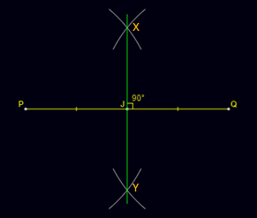 Construction of Perpendicular Bisector: Using a ruler, draw a line passing across X and Y.