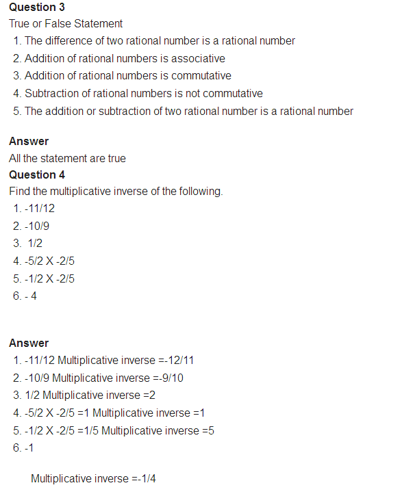 Important Questions for class 8 Maths Chapter 1 Rational Numbers