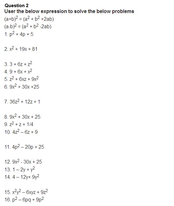 important questions class 8 maths chapter 14 factorization 2
