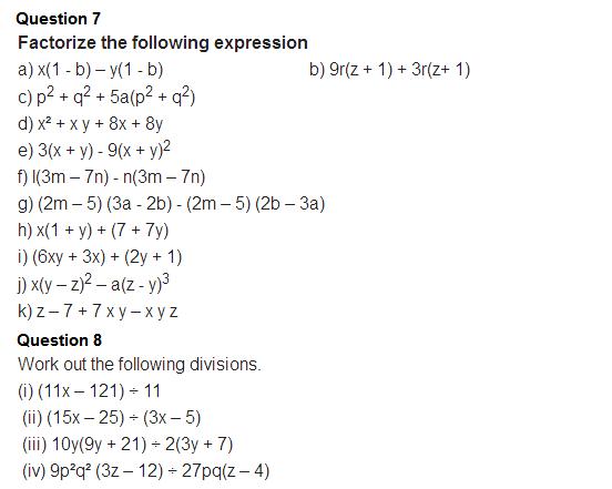 important questions class 8 maths chapter 14 factorization 5