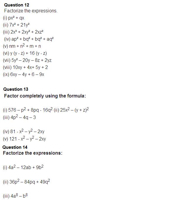 important questions class 8 maths chapter 14 factorization 8