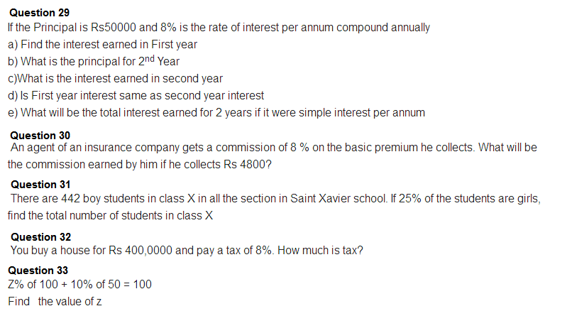 important questions class 8 maths chapter 8 comparing quantities 6