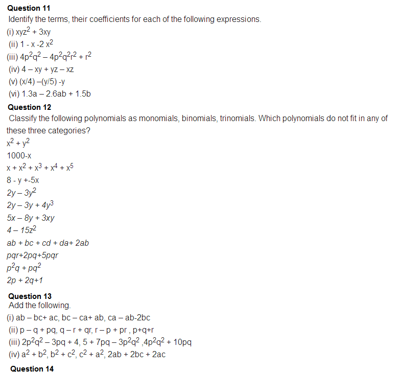 Important Questions Class 8 Maths Chapter 9 Algebraic Expressions Identities Part 6