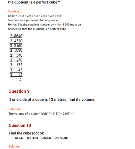 important questions class 8 maths chapter 7 cubes roots 6