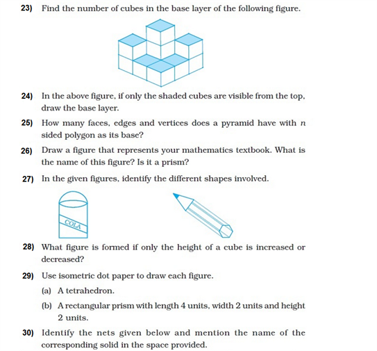 important questions class 8 maths chapter 10 visualising solid shapes 7