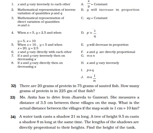 important questions class 8 maths chapter 13 direct inverse proportions 6