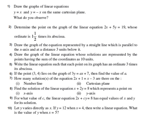 Important Questions Class 9 Maths Chapter 4 Linear Equations Two Variables Part 1
